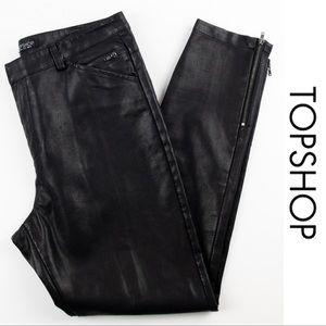 Topshop Black Faux Leather Ankle Zip Pant Jean 8